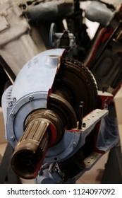 Monino/Russia - 06.12.2018: M-30 airjet engine detail