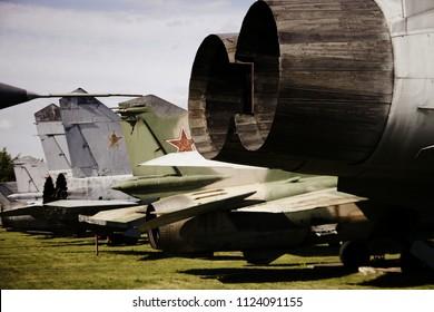 Monino/Russia - 06.12.2018: Military jet nozzles