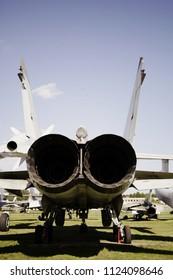 Monino/Russia - 06.12.2018: Turbines of military plane