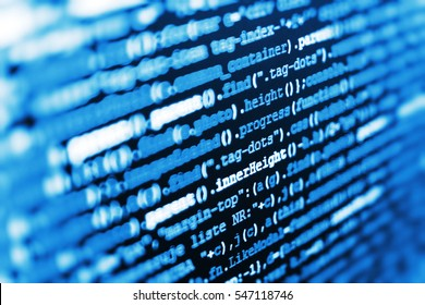 Monitor closeup of function source code. Hacker breaching net security. Internet security hacker prevention. Source code close-up. Programming of Internet website. Website programming code.