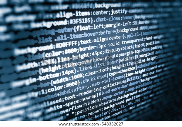 Monitor Closeup Function Source Code Css Stock Photo (Edit
