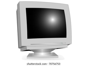 Monitor CRT illustration on a white background