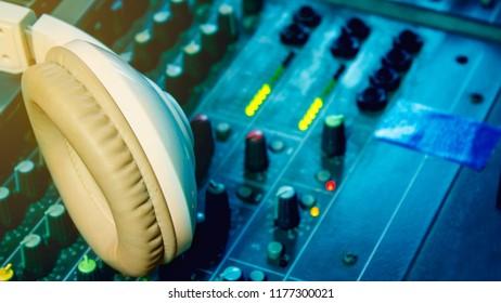 Monitor headphones in the recording studio.