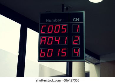 monitor with instructions and numbers of a queue digital information boards about the order