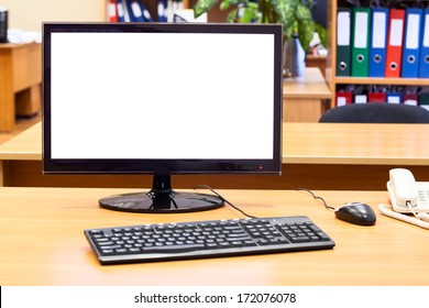Monitor, keyboard, computer mouse on the office desk, workplace