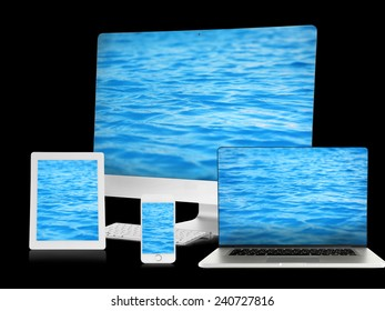 Monitor, laptop, tablet and phone with water wallpaper on screens in collage isolated on black