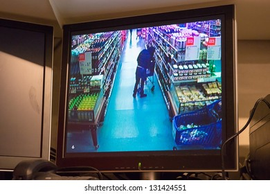Monitor with shopping person in Supermarket