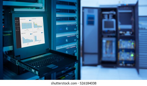 monitor show graph information of network traffic and status of device in server room data center and blur background