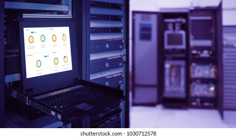 monitor show graph information of  wireless network traffic and status of device in server room data center and blur background. violet tone