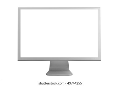 Monitor with a white screen isolated on a white background