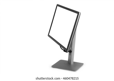 monitor with a white screen on a white background isolated