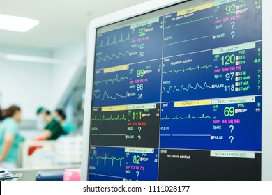 Monitoring of ECG, blood pressure, saturation of the patient in ICU. ICU monitor with several patients and team docter and nurse background.