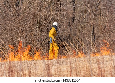 Monitoring the Start of a Controlled Burn at Spring Valley Nature Preserve in Schaumburg