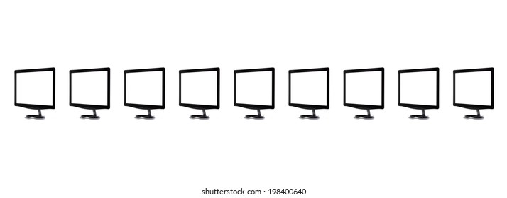 Monitors in a row isolated on white