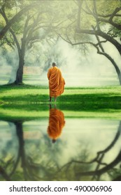 Monk alms round in morning