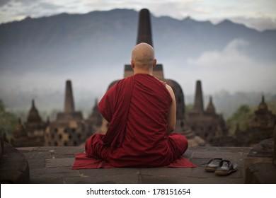 Monk in Borobudur on sunrise