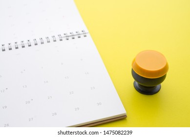 Monk bowl model on white clean calendar background with copy space. Planning or reminder schedule for go to temple in buddhist holy day such as Buddhist lent day, Visakha Puja Day, Asalha Bucha Day