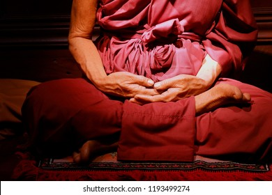 Monk in Buddhism Meditation Pose