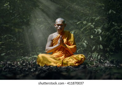 monk evening meditation