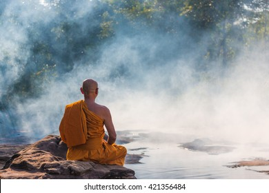 monk meditation at hot spring