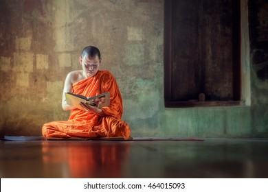 Monk reading book ancient church
