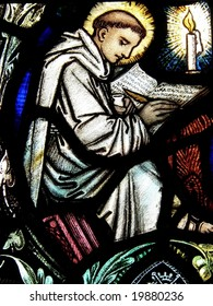 Monk in stained glass