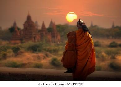 Monk of thailand is walking hike at Bagan Mandalay Myanmar