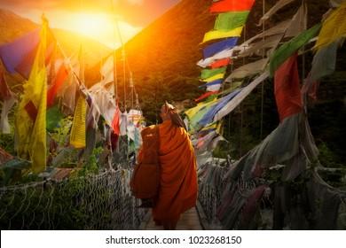 Monk Walking hike in Bhutan.
