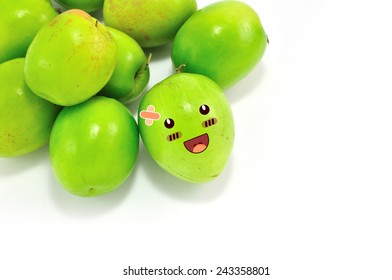Monkey Apple Green Fruit on Isolated and white background