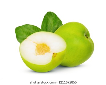 monkey apple or jujube with green leaf isolated on the white background