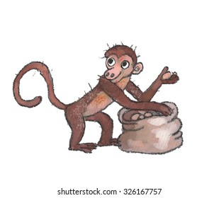the monkey with the bag