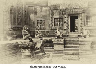 Monkey guardians outside temple at  Banteay Srei, Cambodia