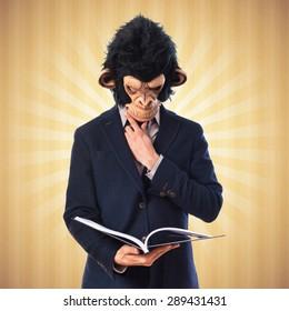Monkey man reading book over pop background