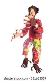 Фотообои Monkey marionette puppet isolated on white background.