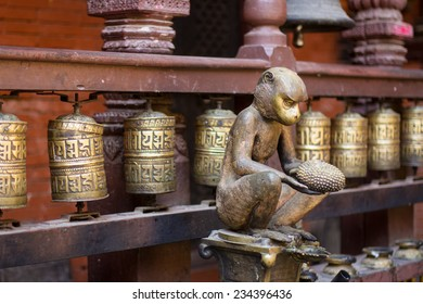 A Monkey Statue at a Buddhist Temple in Nepal