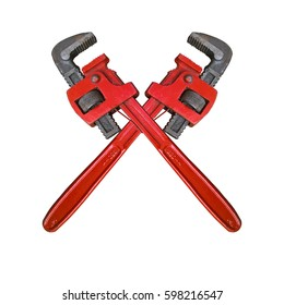 Monkey Wrench Cross. Red wrenches crossed. White background.
