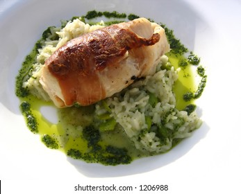 Monkfish Wrapped in Palma Ham on a Bed of Mint Risotto Al Fresco
