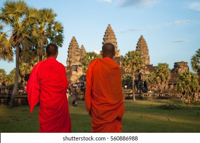 Monks in Angkor Wat temple. Cambodia