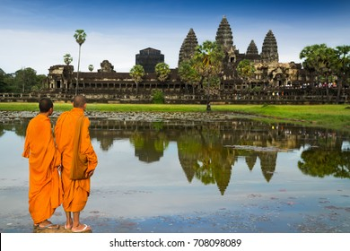 Monks in buddhism at Angkor wat, siem reap, Combodia, Ancient, travel, religion and asia concept