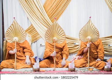 The Monks hold talipot fan in ceremony on the wedding day Seat for monk worship in thai wedding traditional ritual  Monk's seats in Thai wedding traditionnal culture