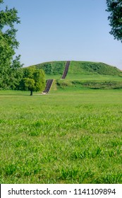 Monks mound archeological site at Cahokia Mounds State Historic Site in illinois, a pre-Columbian Native American city across the Mississippi River from modern St. Louis, Missouri