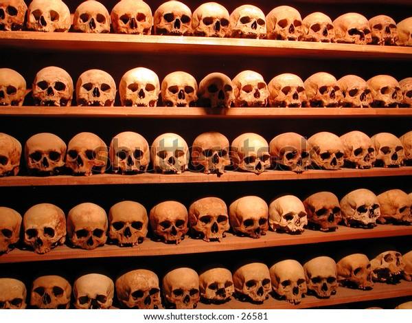 Monks skulls in a Meteora monastery