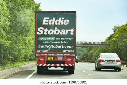 MONMOUTH, WALES - SEPTEMBER 2018: Rear of a lorry operated by the Eddie Stobart haulage company on a dual carriageway near Monmouth