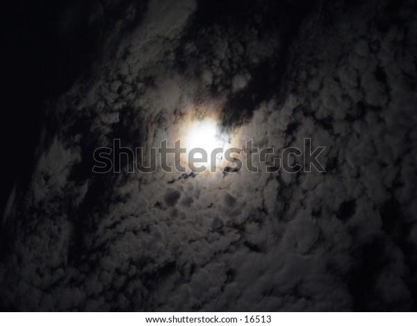 Monn hidden by clouds
