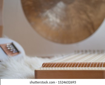 Monochord, Gong and Sansula sound healing instruments