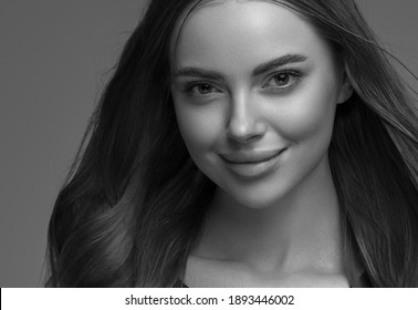 Monochroma woman beauty face smile lips long hair