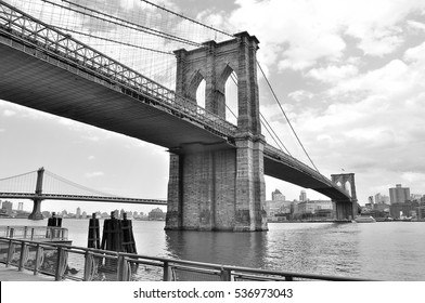 Monochromatic View of Brooklyn Bridge in New York City