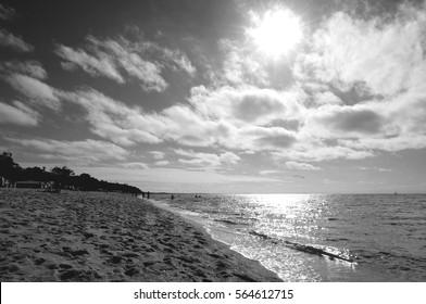 Monochrome australian beach, Dromana beach, Mornington Peninsula, Victoria, Australia
