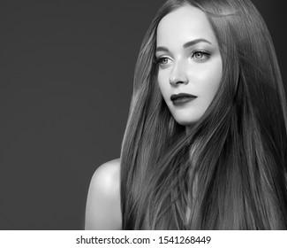 Monochrome beautiful hair woman healthy hairstyle model