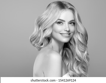 Monochrome beautiful hair woman healthy hairstyle model